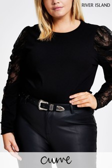 River Island Curve Lace Mix Puff Sleeve Top
