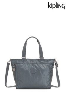 Kipling Grey Metallic New Shopper Large Shoulder Bag
