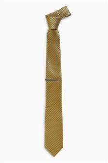 Textured Tie With Tie Clip