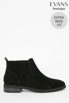 Evans Extra Wide Fit Black Chelsea Boots