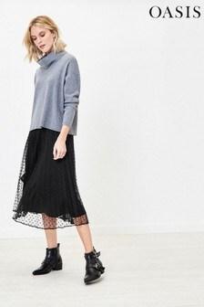 Oasis Black Spot Mesh Midi Skirt