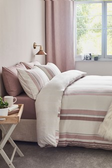 Brushed Cotton Herringbone Pink Duvet Cover and Pillowcase Set