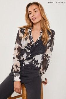 Mint Velvet Black Ariella Print Western Shirt