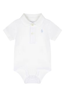 Baby Boys White Cotton Bodysuit