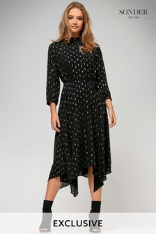 Sonder Black Foil Spot Hanky Hem Dress