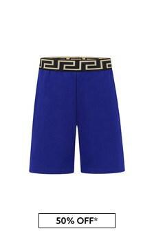 Versace Boys Blue Cotton Shorts