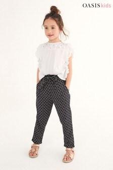 Oasis Geometric Ruffle Tie Waist Trousers