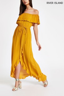 River Island Dark Yellow Jodie Bardot Maxi Dress