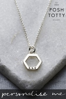 Personalised Geometric Hexagon Charm Necklace by Posh Totty Designs