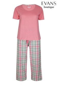 Evans Pink Woven Checkered Pyjamas