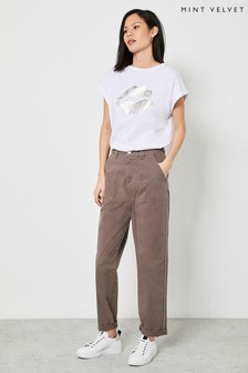 Mint Velvet Brown Striped Chino Trousers