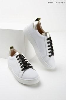 Mint Velvet White Allie Camo Lace Trainers