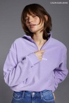 Calvin Klein Jeans Purple Half Zip Polar Fleece