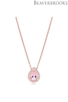 Beaverbrooks Silver Rose Gold Plated Synthetic Morganite And Cubic Zirconia Pendant