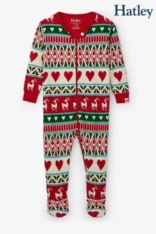 Hatley Natural Mistletoe Deer Fairisle Pattern Organic Cotton Footed Coverall Pyjamas