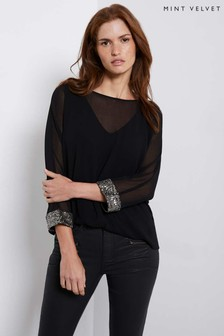 Mint Velvet Black Sequin Cuff Batwing Top