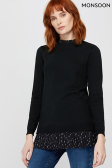 Monsoon Black Blair 2-In-1 Recycled Polyester Jumper