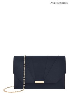 Accessorize Blue Louise Satin Clutch
