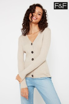 F&F Neutral Izzy Rib Button Cardigan