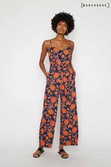 Warehouse Blue Bohemia Print Jumpsuit