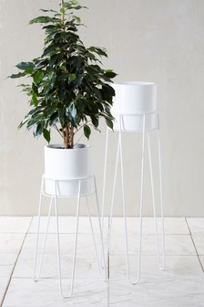 Set of 2 White Plant Stands