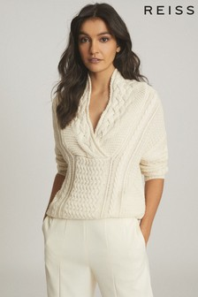 Reiss Cream Ali Cable Knit Jumper