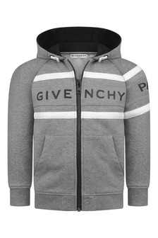 Boys Grey Logo Zip Up Top
