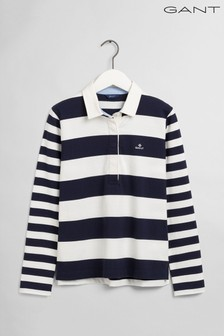 GANT Blue Mixed Stripe Heavy Rugby Top