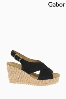 Gabor Black Warbler Suede Sandals