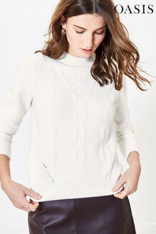 Oasis White Textured Neat Cable Jumper
