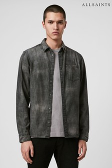AllSaints Black Denim Garforth Shirt