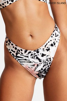 River Island Grey High Leg Animal Bikini Bottoms