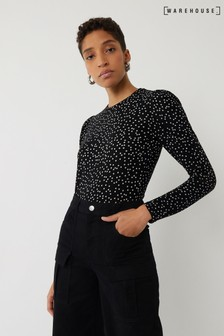 Warehouse Black Polka Dot Puff Sleeve Top