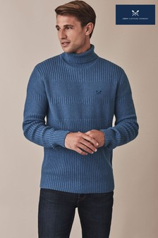 Crew Clothing Blue Saunton Roll Neck Jumper