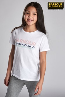Barbour® International White Trackrace T-Shirt