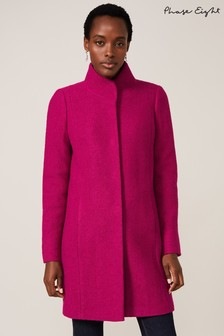 Phase Eight Purple Baille Boiled Wool Coat