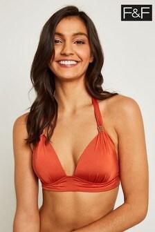 F&F Orange Halter Bikini Top