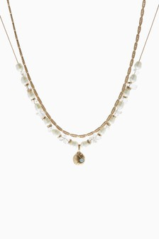 Pearl Effect Two Layer Necklace