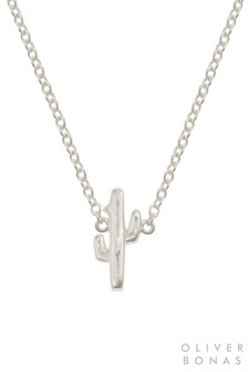 Oliver Bonas Sterling Silver Tiny Cactus Necklace