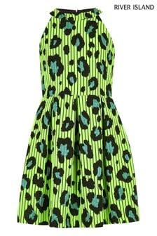 River Island Black Neck Leopard Prom Dress