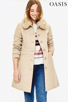 Oasis Neutral Faux Fur Collar Coat
