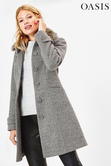 Oasis Grey Faux Fur Collar Coat