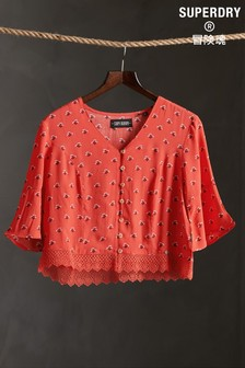 Superdry Red Lace Top
