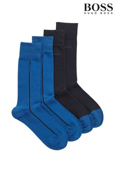BOSS Blue Logo Stripe Socks Two Pack