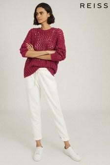 Reiss Pink Natalie Open-Knit Oversized Jumper
