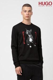 HUGO Black Dicco Mastiff Print Crew Neck Sweatshirt