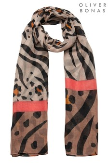 Oliver Bonas Animal Cat Combination Print Brown Scarf