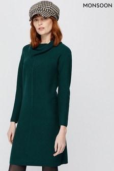 Monsoon Green Cali Sustainable Viscose Dress