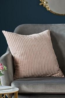 Beaded Velvet Cord Cushion