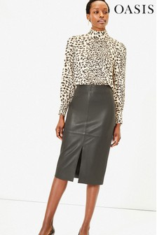 Oasis Black Leather Pencil Skirt